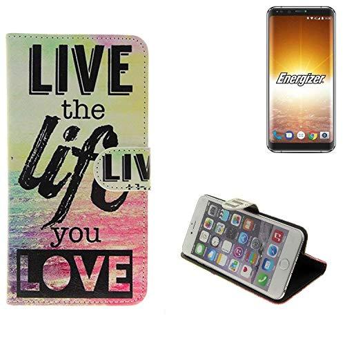 K-S-Trade Für Energizer P600S Schutz Hülle 360° Wallet Case ''live Life Love'' Schutzhülle Handy Tasche Handyhülle Etui Smartphone Flip Cover Standfunktion (1x)