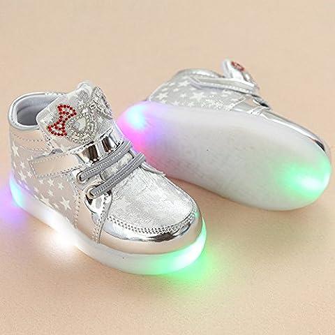 LED Schuhe Kids Light shoes, Stillshine - Girls blinken Sport Running Sneaker Baby shoes Halloween Christmas Gift (23, Weiß)
