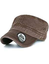 Ililily simple plain solid color washed cotton military flat top army casquette cadet