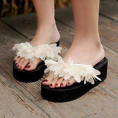 Donne'sscarpe piattaforma tessuto Flip Flop Sandals Outdoor / Abbigliamento Casual / nero / Mandorla US5 / EU35 / UK3 / CN34
