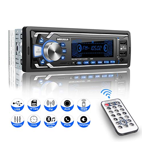 Universal Stereo (Autoradio mit Bluetooth Freisprecheinrichtung, MEKUULA 1 Din Universal Autoradio Eingebautes Mikrofon, 4X60W Auto Stereo Radio Ricever, USB/TF/FM/AUX/WMA/WAV/MP3 Media Player + Fernbedienung)