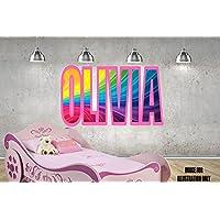 Rainbow Swirl Pink Rosa personalisierte Namen Wandtattoo Kinder Jungen Mädchen Wand Aufkleber Wand Kunst Transfer Aufkleber