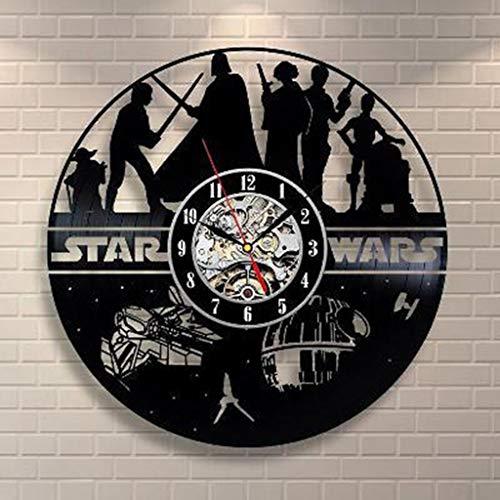 Xinshenghe Vinyl Evolution Star Wars Death Star Darth Vader Princesa Leia Master Yoda Personaje de la película Disco de Vinilo Diseño Reloj de Pared (Color : S, Tamaño : 12 Pulgadas)