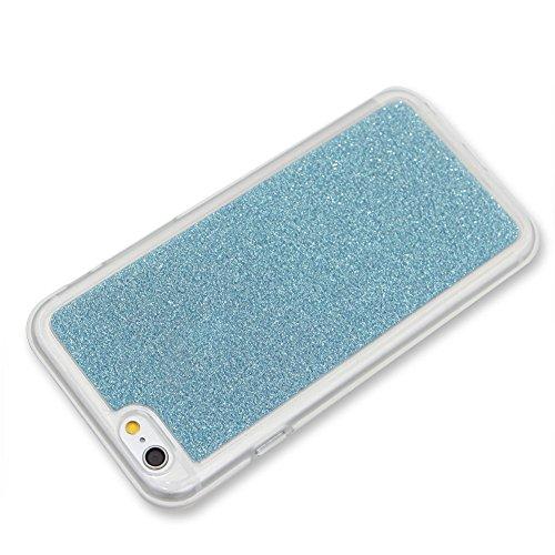 Für iPhone 6 Plus/6S Plus 5.5 Zoll Schrittweise Farbwechsel TPU Cover, Herzzer Bling Glitter Schutz Hülle mit Liebe Herzen Ring Halter, Luxus Sparkles Glänzend Glitzer Silikon Crystal Case Durchsichti Hellblau