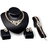 Set di Gioielli per Le Donne Catene di Serpente d'oro Stravagante Girocollo Cluster Strass con Collana, Bracciale…