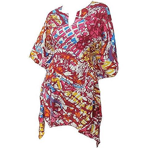 La Leela arte antica super-kimono donne elastico likre dipinto 4 in 1 spiaggia di occultamento bikini tunica top abbigliamento casual di base plus size costume da bagno bikini donne KAFTAN
