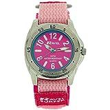Ravel Mädchen-Armbanduhr, Design: Surfer, 5 atm, Quarzuhr mit Klettverschluss, mit silberfarbenem Zifferblatt, Analog-Anzeige und lila Nylon-Uhrenband, R5–13.5L