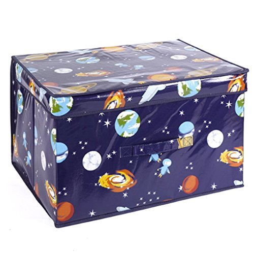 Spaceman Foldable Pop Up Room Tidy Storage Chest Toy Box For Girls and Boys, Fabric, Blue, 50 x 30 x 40 cm