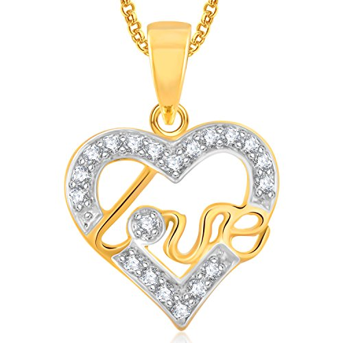 Meenaz Gold Plated Heart Pendant Locket Love Valentine Gifts With Chain In American Diamond Cz Jewellery Set for Girls Women PS356  available at amazon for Rs.279