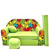 Kinder Sofa Couch Baby Schlafsofa Kinderzimmer Bett gemütlich verschidene Farben und motiven (Z34 grün Puzzle)