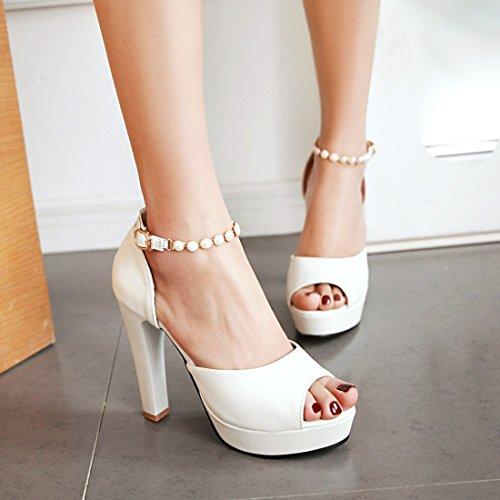 UH Femmes Sandales Bride Cheville avec Perles Peep Toe Vernis Elegantes et Douce à Talons Haut Bloc Blanc