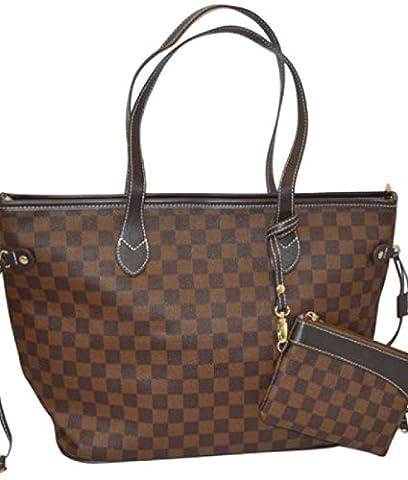 GetThatBag® Womens Boston Monogram Print Shoulder Bag Shopper Handbag - Grey / Brown / Beige / Black - Checkerboard Damier / Stars