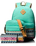 Leaper Causal Style Lightweight Canvas Laptop Bag School Backpack + Shoulder Bag +