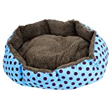 sourcingmap Dot Muster Pet Plüsch Futter Doghouse Hundehütte Hund Loch Bett, Blau/Violett