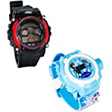 Shanti Enterprises Combo Frozen Princess 24 Images Projector Watch And Sports Watch Multi Color Dial For Kids