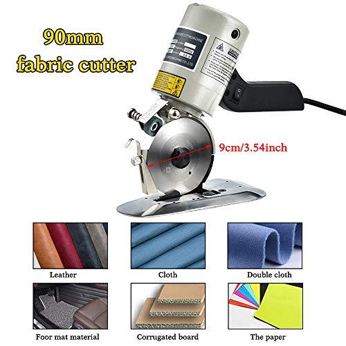 HUKOER Elektrische Kleidungsschneidemaschine, Klingendurchmesser 90 MM Tragbare Stoffschere Rundmesser Stoffschere für Bekleidung, Lederwaren, Textilien, Gummi, Papierindustrie