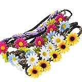 AWAYTR Haarband Boheme Geflochten Blumen Haarreif Stirnband HIPPIE (B-Mixed Farb 9Pcs)