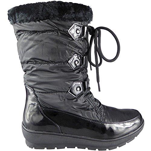 Dames Neige hiver Fourrure Doublure Lacer Cheville Bottes Taille 36-41 Noir