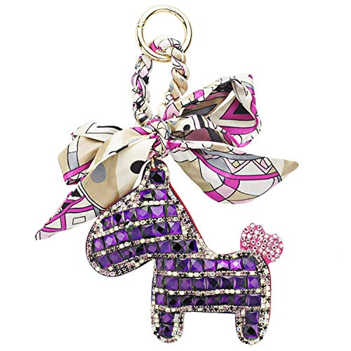 Unique Life Schlüsselanhänger, Pferde-Design, Leder, Schlüsselanhänger, Geldbörse, Taschen-Anhänger, Geschenk für Mädchen und Damen Gr. Einheitsgröße, violett -