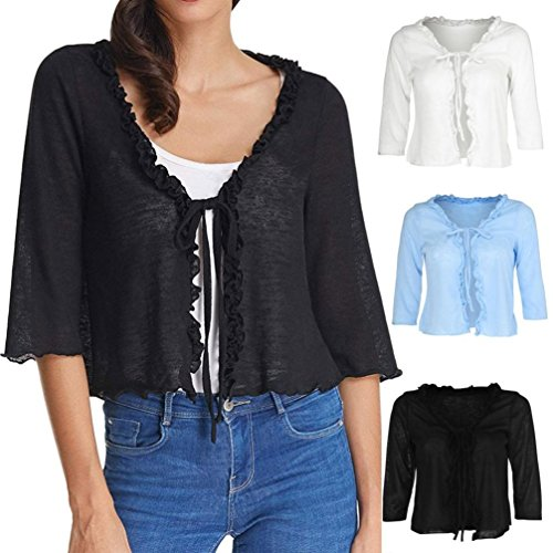 Wawer Lightweight Shrug Bolero for Women, Lady Solid LaceRuffle Cropped Knit Cardigan Top Blouse Great for Office/Club/Daily/Beach