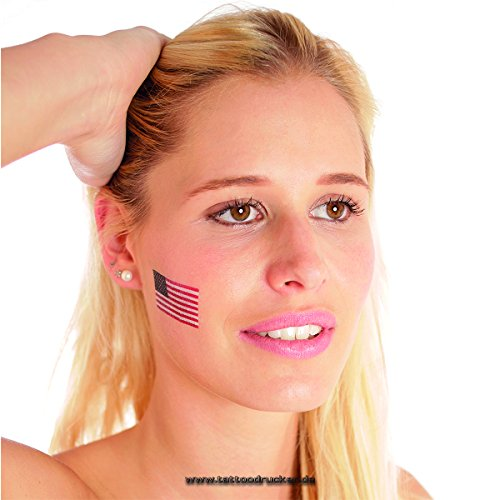 Fan Fahnen Set - America temporary tattoo Flag (10) ()