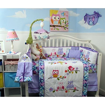 SoHo Lavender Owls Party Baby Crib Nursery Bedding Set 14 pcs by SoHo Designs