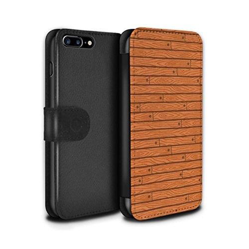 Stuff4 Coque/Etui/Housse Cuir PU Case/Cover pour Apple iPhone 7 Plus / Turquoise Design / Motif Bois Collection Orange