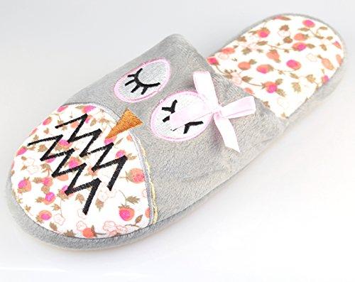 BTS-kuschelige pantoufle %2Fpantoufles da donna a forma di civetta, set di installazione da rotocalchi, taglia 36, colore: grigio chiaro nell'uE Grigio (Grigio - grigio)