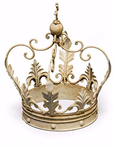 Großer Deko antik Eisen Krone cremefarben Ornament Geschenk-30x 20x 20cm