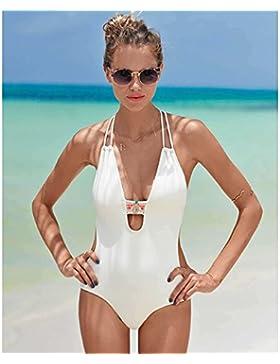 Traje de baño de una sola pieza _ borrado de traje de baño Trajes de baño siameses, elegante, moderno y blanco...