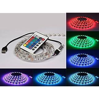 LED ME® USB Powered RGB LED Flexible Strip Lights 200cm long 60 LEDs PER METER DC 5V SMD5050 TV LED Strip With Mini Controller for HDTV, Desktop Monitors, Kitchen Cabinets