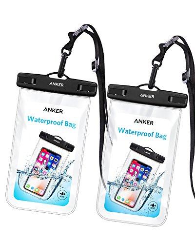 Anker Wasserdichte Handyhülle Wasserfeste Hülle, IPX8 Zertifizierte Wasserdichte Dry Bag, Tasche für iPhone XR/XS/X/ 8/7/6/6s/6splus/Galaxy S9/S8/S7/S7edge, Huawei P10/P9 usw bis zu 6 Zoll[2 Stück]
