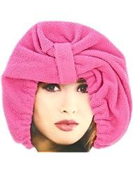 Promobo -Charlotte de Bain Luxe en tissu absorbant Bonnet Microfibre Rose