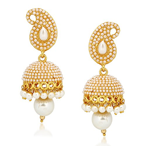 Amaal Jewellery Gold Plated Pearl Jhumka Earring Ear Rings For Girls Women Earring Necklace Jewellery Jhumki-J0139