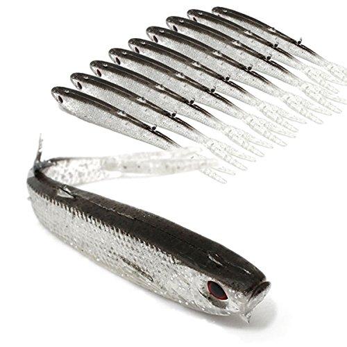 LaDicha 9,5 cm Weichem Silikon Fische Locken Tiddler Fischköder Salzwasser Angeln