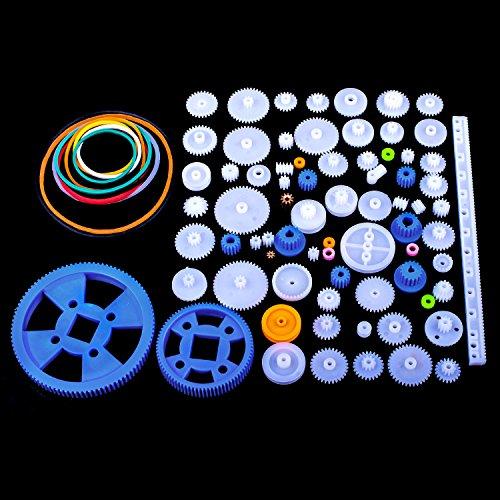 Kit de Engranajes de Plástico 80pcs, Quimat Conjunto de Engranajes para Bricolaje Jueguete Caja de Cambios QY16
