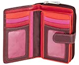 Visconti Bifold Leder Damen Geldbörse Colorado Combination Leather Mehrfarbig Purse (CD-22) RFID (Pflaumefarben (Plum))