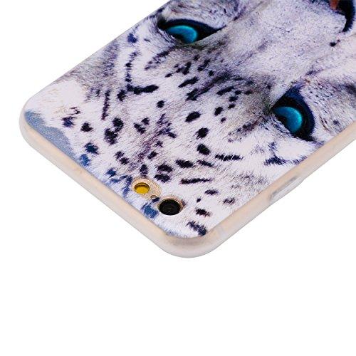 Cover iphone 6/6s, iphone 6/6s custodia , Cozy Hut iphone 6/6s cover Morbido TPU Custodia [Ultra sottile] [Leggera] [Assorbimento-Urto] Paraurti in TPU Morbida Protettiva Case Cover Custodia Silicone  Leopardo bianco
