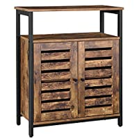 VASAGLE Standing Cabinet, Storage Cabinet, Accent Side Cabinet with Shelf, Cupboard with Louvred Doors, Multifunctional in Living Room, Bedroom, Hallway, Industrial Design, Rustic Brown LSC76BX