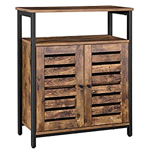 VASAGLE Kommode Schrank, Sideboard, Küchenschrank mit Regalablage und Lamellentüren, multifunktional, Wohnzimmer…