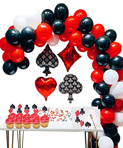 foci cozi Casino Party Dekoration Zubehör Set: Casino Ballons,Black, Red,White Latex Ballon mit Casino Confetti für Casino Theme Party,Las Vegas Themenpartys