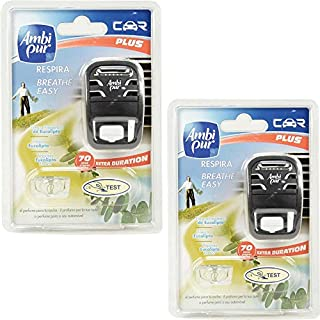 2x Ambi Pur Car Plus -Easy Fresh Mint- Adapter Und Incl. Nachfüller - 8ml