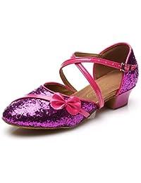 T.T-Q Zapatillas de Baile Baile Cuadrado Bailando con Fondo Suave Plata Sandalias Latinas Salsa Jazz Tango Swing...