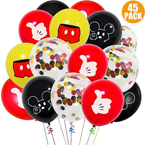 Palloncini da riempire con elio, per feste del primo compleanno, matrimonio, natale, feste per bambini, nero, rosso, giallo (45 pezzi)