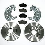 Bremsscheiben Ø 256 mm/Bremsen + Bremsbeläge + Spritzbleche für vorne/für die Vorderachse