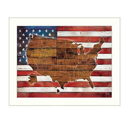 Trendige decor4u ma2075–712W American Flagge USA Map Gerahmter Druck (Vereinigte Staaten-map-kunst)