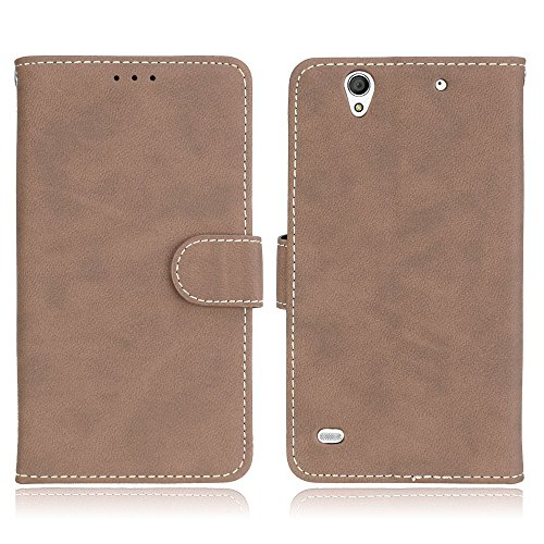BONROY Premium Leather Wallet Cover Case for Sony Xperia C4-(Matte 3 Card-Beige)