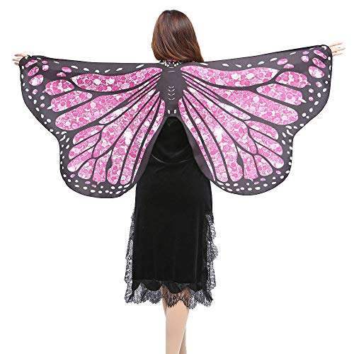 Drache Zug Kostüm - WOZOW Damen Schmetterling Flügel Kostüm Nymphe Pixie Umhang Faschingkostüme Schals Poncho Kostümzubehör Zubehör (pinkfarbene Punkte)