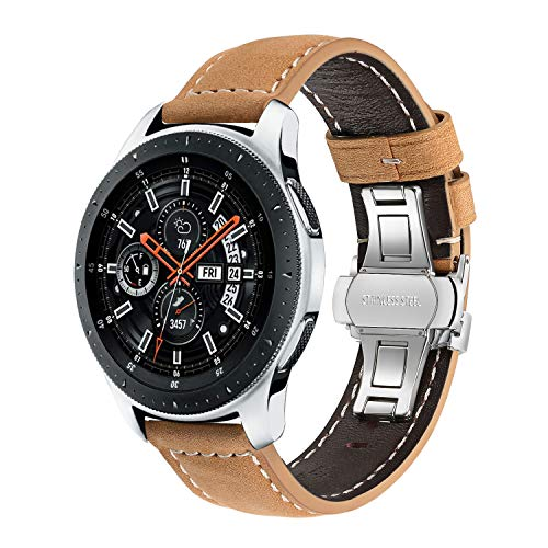 TRUMiRR 22mm Crazy Horse Bracelet en Cuir véritable pour Samsung Gear S3 Classic Frontier