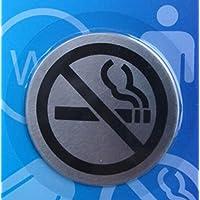 Bene de BO pared Cartel–cartel, acero inoxidable, selbsklebend, sin agujeros, redondo, diámetro de 67mm, diseño de prohibido fumar